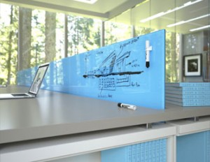 Glass dry erase board office furniture divider
